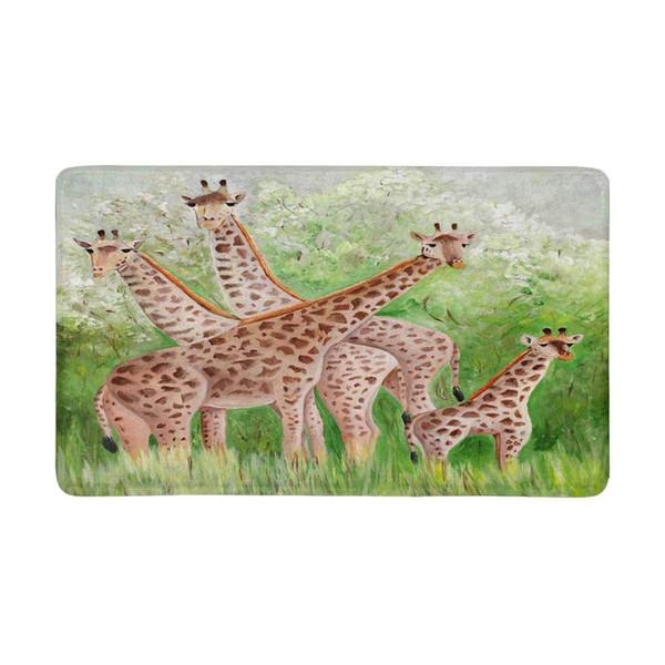 Beautiful Giraffes at Masai Mara National Park Doormat Anti-Slip Entrance Mat Floor Rug Indoor Door Mats Home Decor Rubber