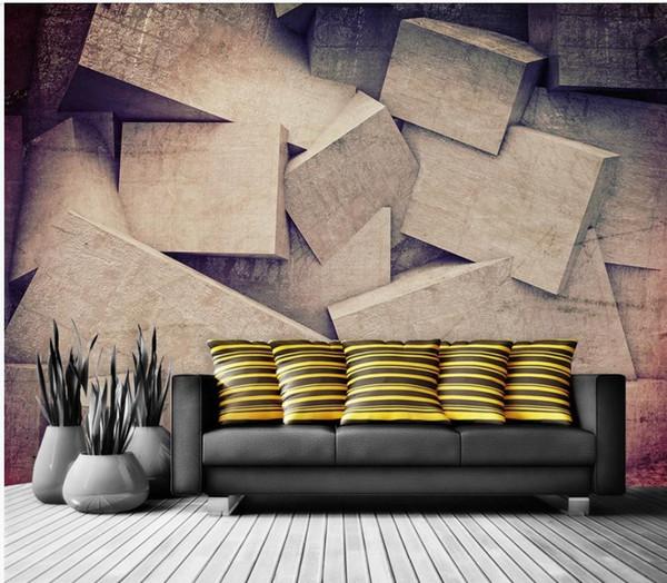 Özel oturma odası için herhangi bir boyut fotoğraf Modern duvar geometrik duvar kağıtları arka plan duvar 3d