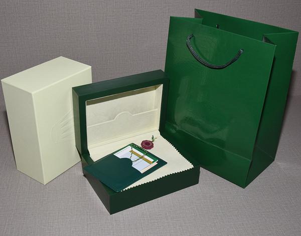 Kostenloser Versand Uhr Grün Original Box Papiere Geschenk Uhren Boxen Ledertasche Handtasche Karte 0,8 KG für 116610 Uhr Box