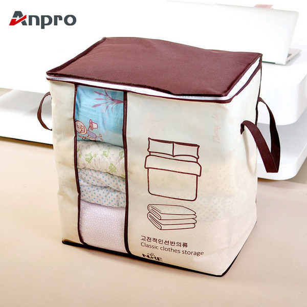 Anpro Clothes Storage Bag Non-woven Folding Closet Organizer For Quilt Pillow Blanket Bedding Underbed Pouch Storage Bag Box