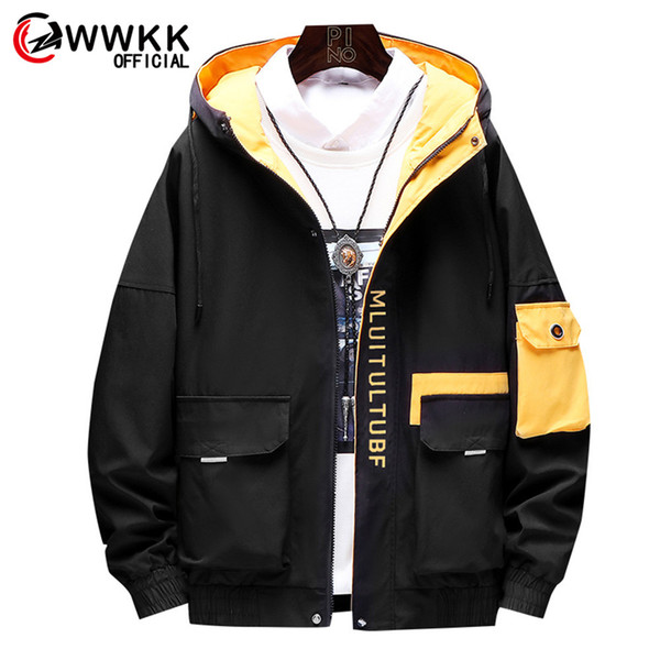 WWKK 2019 New Clothes Coat New Arrival Male Pilot Bomber Jacket Slim Fit High Quality Mens Man Hooded Casual Jackets Zipper Warm
