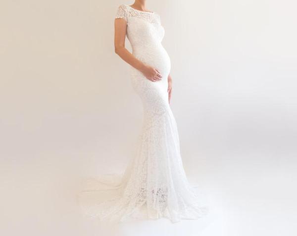 Слоновая кость кружева материнства свадебные платья русалка свадебное платье с коротким рукавом кружева драгоценности шеи Vestido де novia материнства беременность макси платье