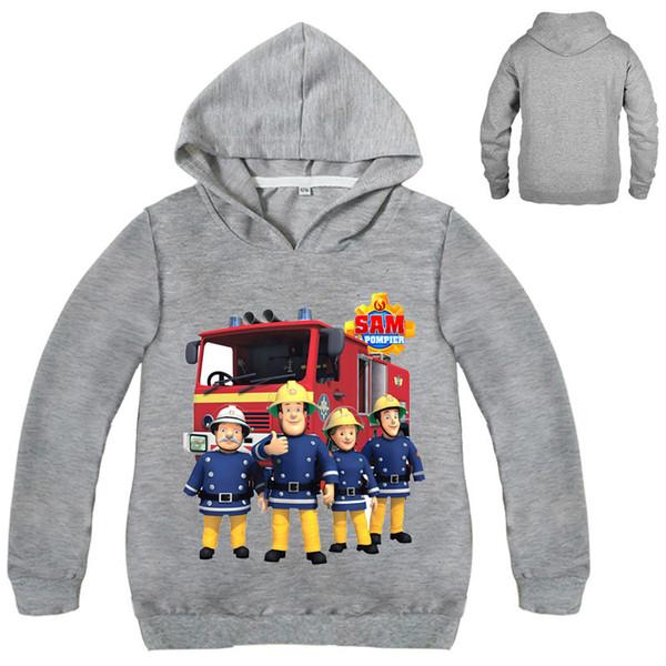 Kinderkleidung Fireman Sam Junge Mädchen-T-Shirts lange Hoodies Hülse T-Shirt Mädchen Jungen Kleidungsmantel T191013