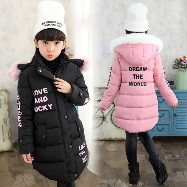 Winter Warm Cotton Print Child Long Coat Children Outerwear Fur Collar Baby Girls Jackets Heavyweight Kids Outfits For 110-155cm