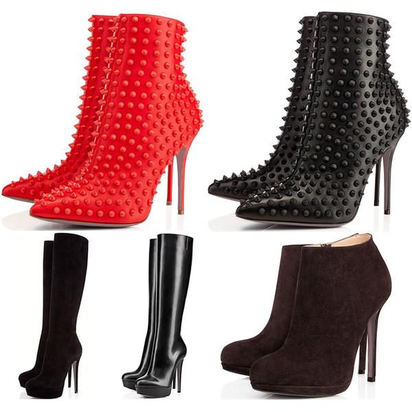 Kış Tasarımcı Ayakkabı sneaker Yani Kate Spike Yüksek Topuklu Yarım Diz Ayak Bileği çizmeler Kırmızı Lüks Dipleri 8 10 12 14 CM moda boyutu 35-42