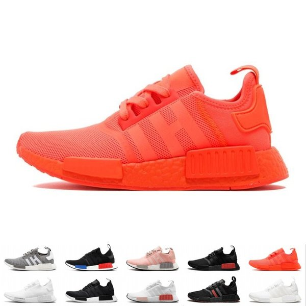 NMD R1 OG Primeknit Running Shoes Classic Triple Red Black Best Quality Men Women Sport Shoes Designer Sneakers Trainers 36-44