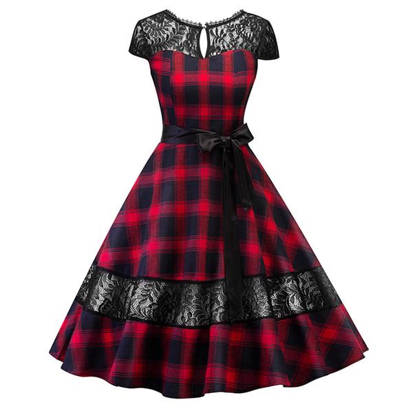 Compre Es Vestido 1950 De Hepburn Vestido De Tartán A Cuadros Inglés Vestido De Encaje A Cuadros Con Marco Pin Up Rockabilly Swing Vestido De Bata