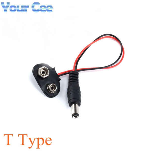 Freeshipping 100 pc Experimental 9V DC Battery Power Cable Plug Clip Barrel Jack Connector for DIY T type
