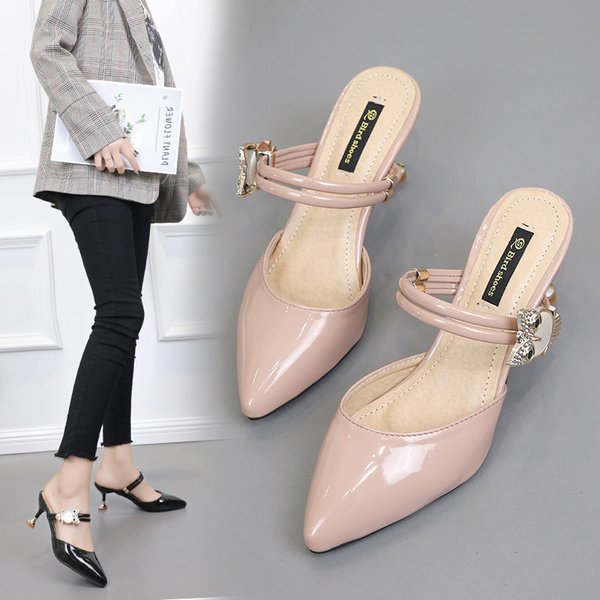 women shoes 2019  spring Summer high heels pumps dress noble pointed toe outside owl Rhinestone 7cm zapatillas mujer