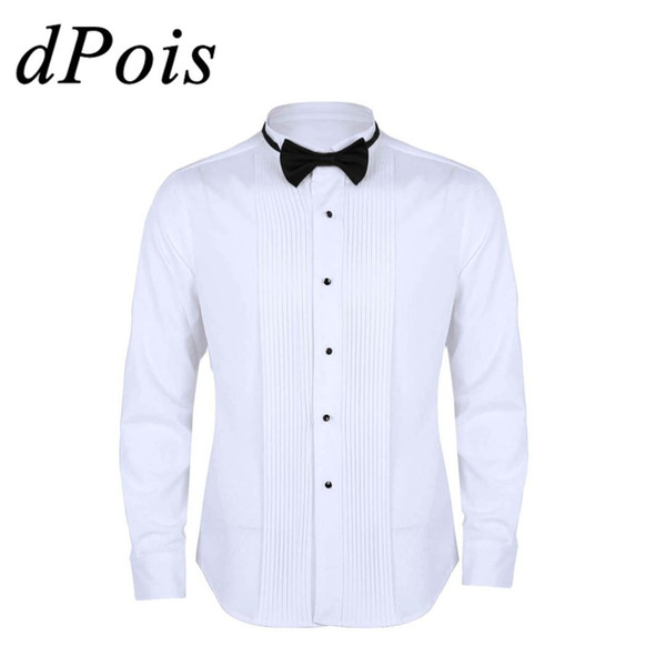 Fashionable Men Long Sleeve Slim Fit Solid Color Casual Tuxedo Dress Shirts with Bow Tie For Male Working Office Party Costumes