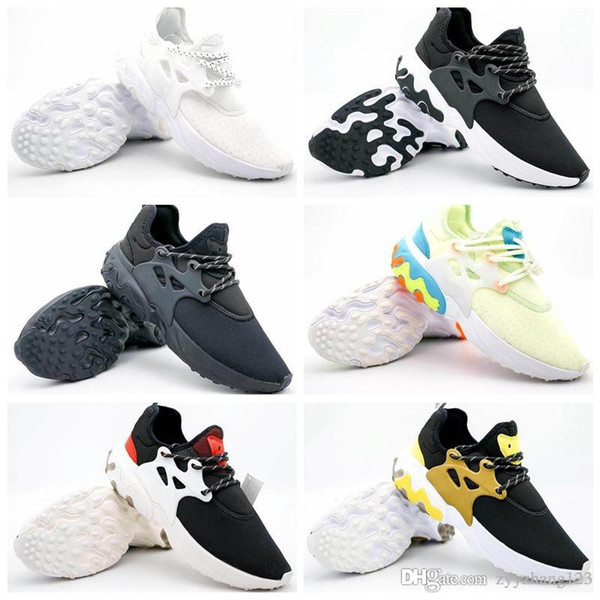 2019 Ucuz Yeni Presto Orta Tepki Erkek Kadın Koşu Ayakkabıları Rahat Rahat hissediyorum Hissediyorum Örgü Nefes Sneakers Siyah Beyaz Rahat Ayakkabılar 36-45