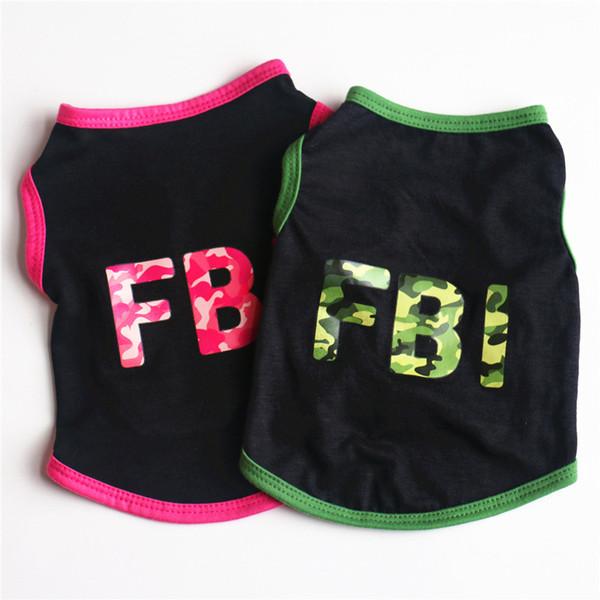 Verano para mascotas ropa para perros FBI camuflaje de algodón fresco camiseta de perro ropa para mascotas chaleco para perros pequeños Chihuahua cachorro del equipo del traje