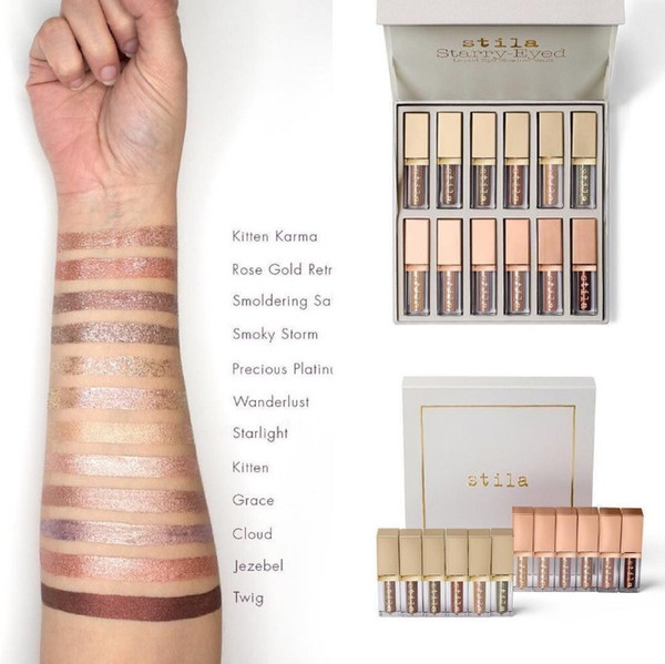 New tila tarry eyed liquid eye hadow vault kit 12pc himmer glitter glow eye hadow palette collection full ize dhl hipping