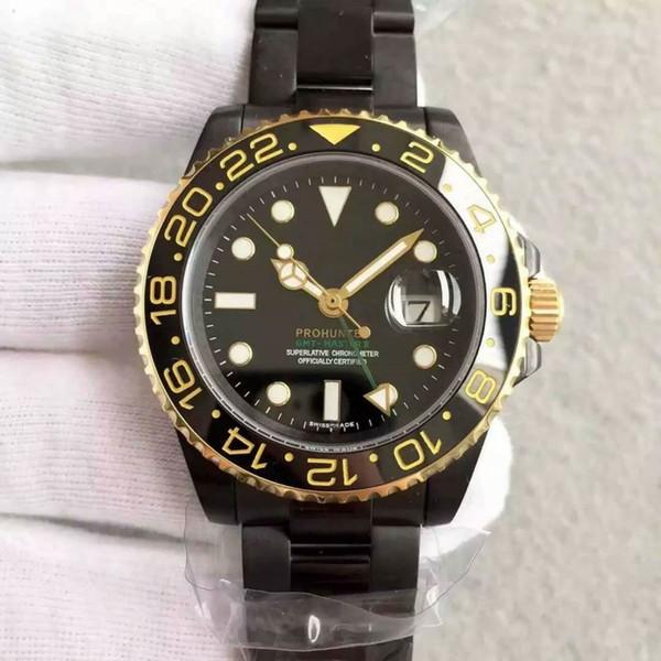 top sale Rose gold GMT2 Listed V3 Version Batman mens watch automatic movement Ceramic Rotating Bezel sapphire glass steel str