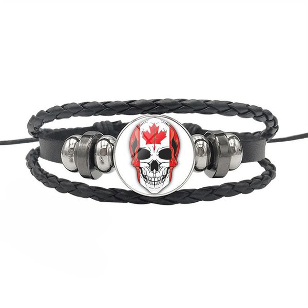 2019 New Fashion Genuine Leather Rope Beaded Jewelry Canada National Flag World Time Gem Glass Cabochon Skull Series Button Bracelet Bangles