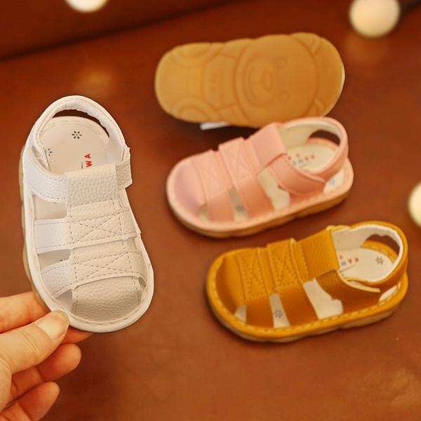 2019 Yaz Bebek Erkek Sandalet Bebek Yürüyor Terlik PU Deri Bebek Kız Ayakkabı Çocuk Sandalet Toddler Kız Ayakkabı