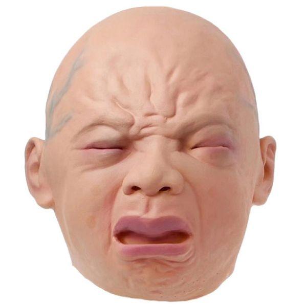 El llanto del bebé realista máscara de cabeza completa llanto máscara facial pelucas de Halloween bar Sala de la casa encantada de terror Cosplay Bar Actuaciones