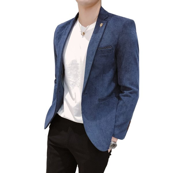 Fashion England wind velvet autumn and winter thick men's suit jacket / high quality 2019 new fashion Plus size blazer