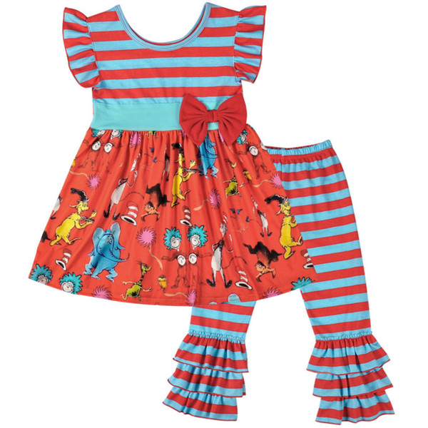 New Summer Girls Clothing Set Kids Striped Cartoon Printed Tunic with Ruffle Pants 2 PCs Outfit Fashion Kids Clothes