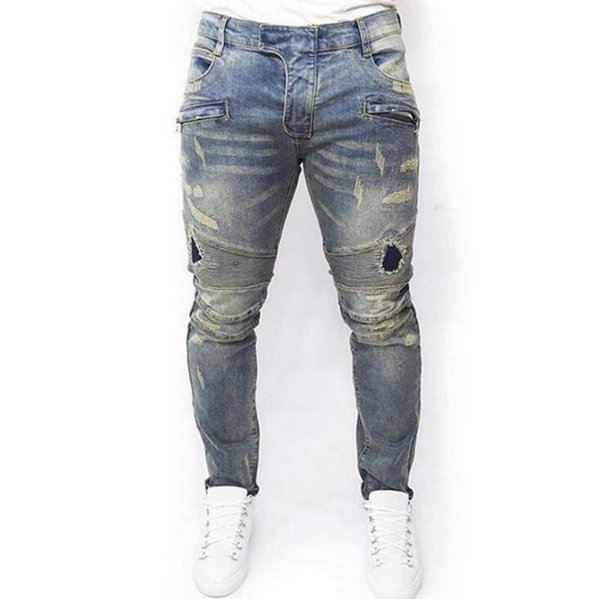 Mens Designer Jeans Fashion Hole Broken Washed Motorbike Denim Pants Street Style Scratched Skinny Pencil Jeans