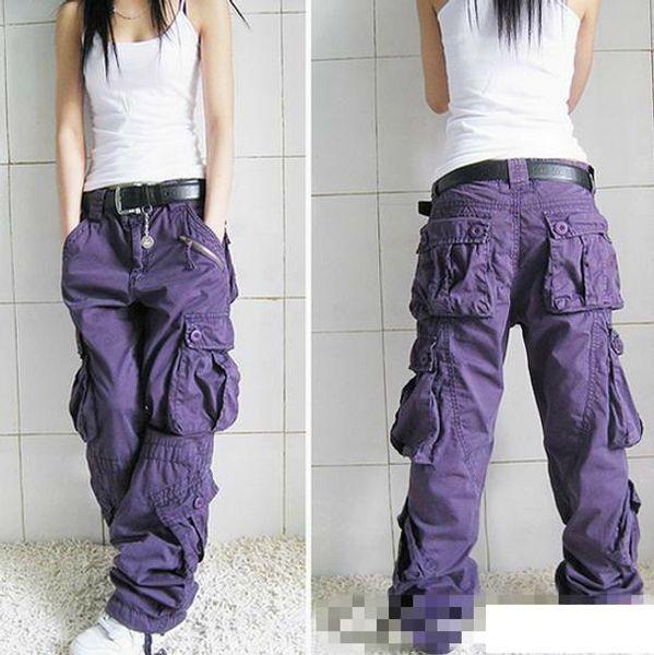 Mulheres Multi-bolso Macacões Calças Retas Hip-hop Calças Casal Calças Mulheres Cáqui Casual Calças Soltas Hiphop Dança Pant