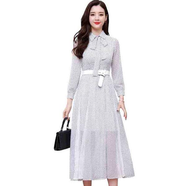 Summer Chiffon Dress 2019 New Arrival Elegant Women Polka Dot Print Plus size Midi Dress Bow Collar Party Long Sleeve Vestidos