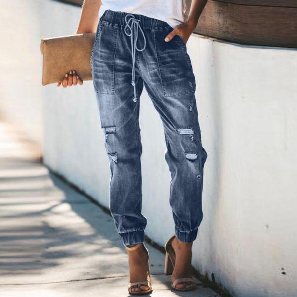2019 Womans Jeans Ripped Hold Jeans para mujeres Casual de cintura alta Denim pantalones largos para mujer suelta haz pantalones de pie mujer