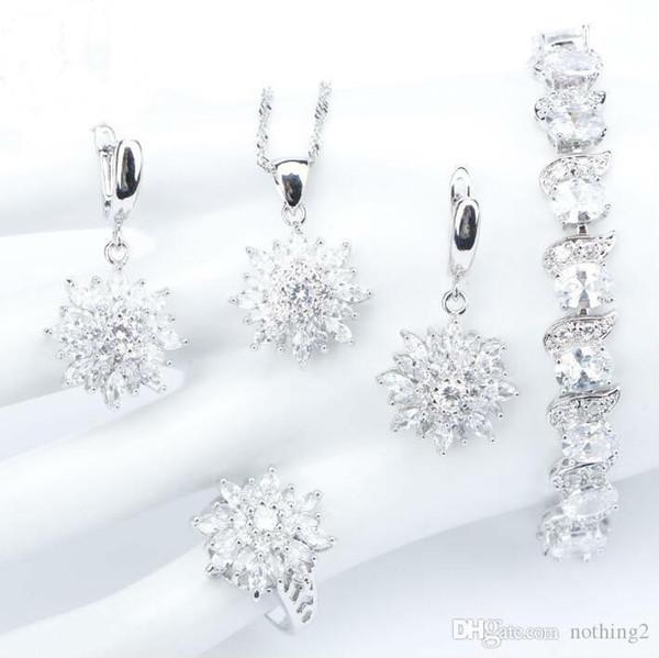 Gioielli S925 argento di design set di gioielli Bianco Naturale Zirconia donne sposa set Bracciali Anelli orecchini con pietre