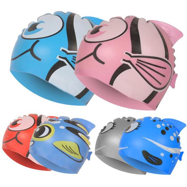 New Kids Children Waterproof Swim Cap Cartoon Animal Swimming Pool Beach Silicone Caps Hat Protect Ears Long Hair For Boys Girls C19040302