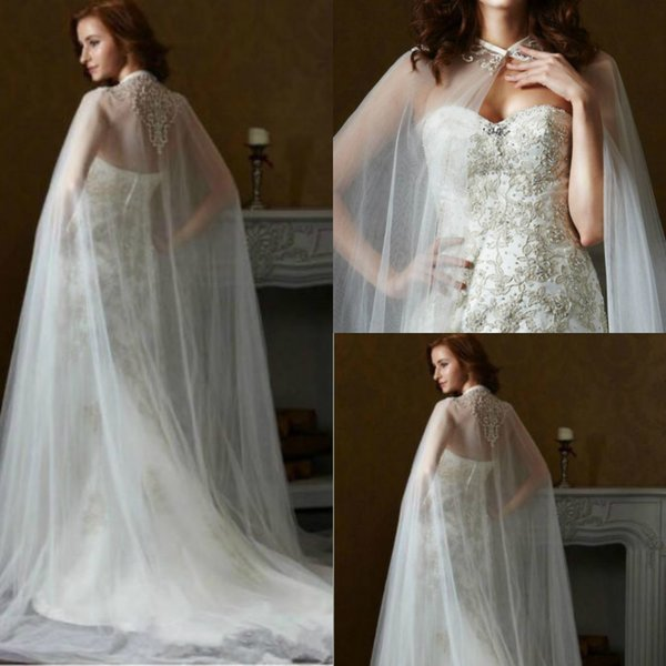 Bridal Jacket shawl Capes Lace Applique One Layers Tulle Bridal Dress Long Cloak White Ivory Women Custom Made
