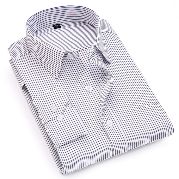 New Style Striped Smart Casual Men Shirts Long Sleeve Classical Design High Quality Men Dress Shirts Easy-care Office Clothing
