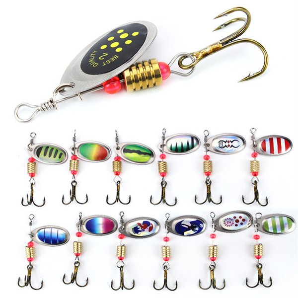 best selling 1pcs 6cm 3.5g Spinner Hook Fishing Hooks 6# Hook Metal Baits & Lures Artificial Bait Pesca Accessories