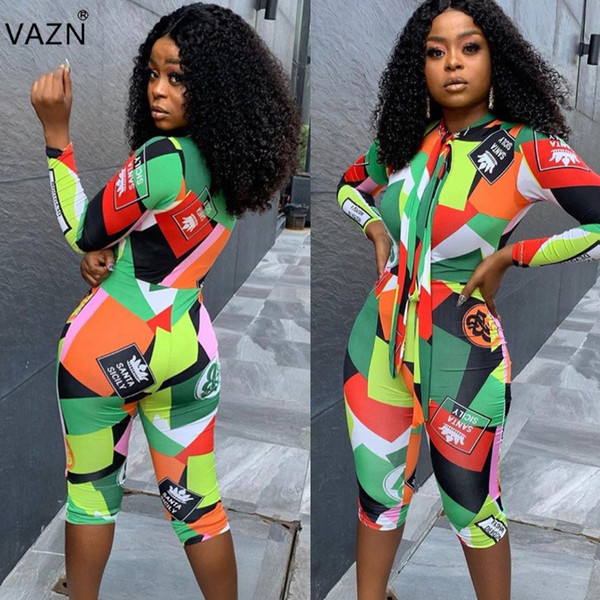 VAZN SHH8056 Bandage Fashion High Design 2019 O-Neck Tuta da donna Marea a righe sexy skinny a maniche lunghe manica corta Turn