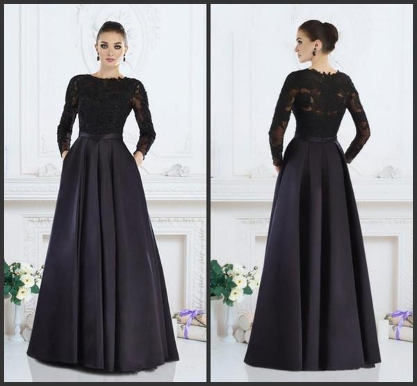 Vestidos de madrina negros con bolsillos Mangas largas de encaje Vestidos de fiesta elegantes por la noche Una línea de satén Vestido barato Ocasión formal