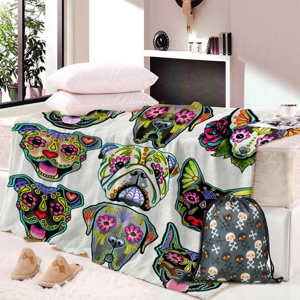 Дропшип череп собака пользовательские печати Супер мягкий уютный бархат плюшевые бросить одеяло современная линия искусства Шерпа Одеяло для дивана путешествия