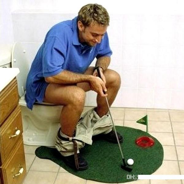Sport Jouets Toilette Salle de bains Mini Golf Costume Jouet Putting Green nouveauté drôle jeu pour les gens de divertissement de loisirs 9 H 8kk