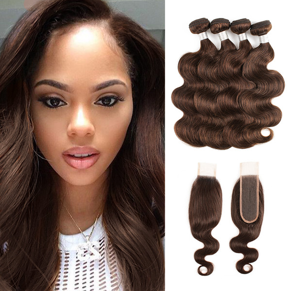 Color 4 Chocolate Brown Body Wave Hair Bundles With Closure Malaysian Remy Human Hair extensions 3 or 4 Bundles with 2x6 Lace Closure