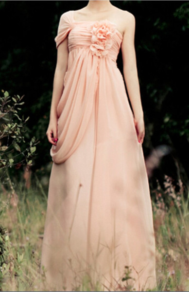 Stylish Coral One shoulder Bridesmaids Dresses 2019 Cheap Long Chiffon Handmade Flowers Empire Pleated With Sleeves Prom Party Dress