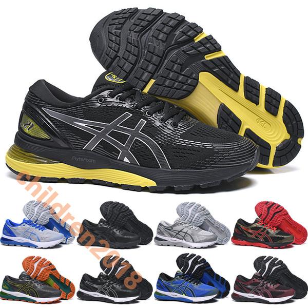 Sics Gel Nimbus 21 For Men Marathon Running Shoes Men 2019 Cushion Black Yellow Mens N21 Hiking Jogging Sneakers Size 40.5-45