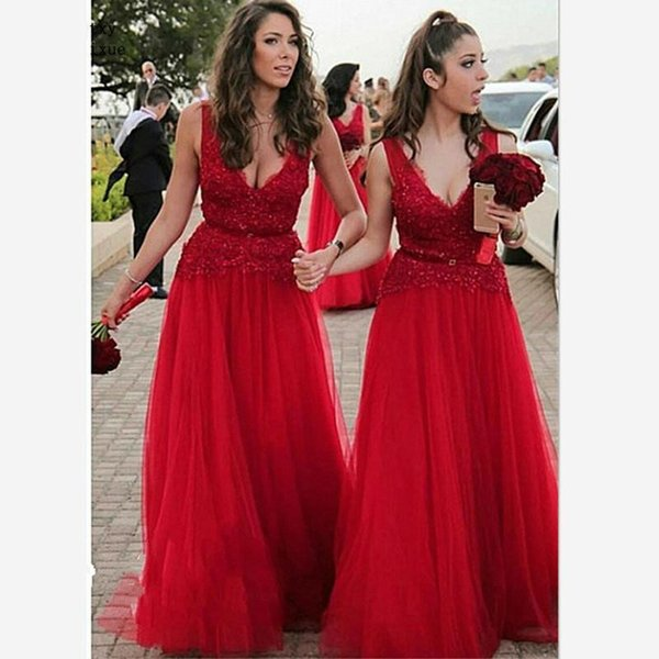 2020 New Arrival Embroidered Lace Red Bridesmaid Dresses Empire Waist Sashes V-neck Cap Sleeve Wedding Guest Dress Prom Party Evening Gowns
