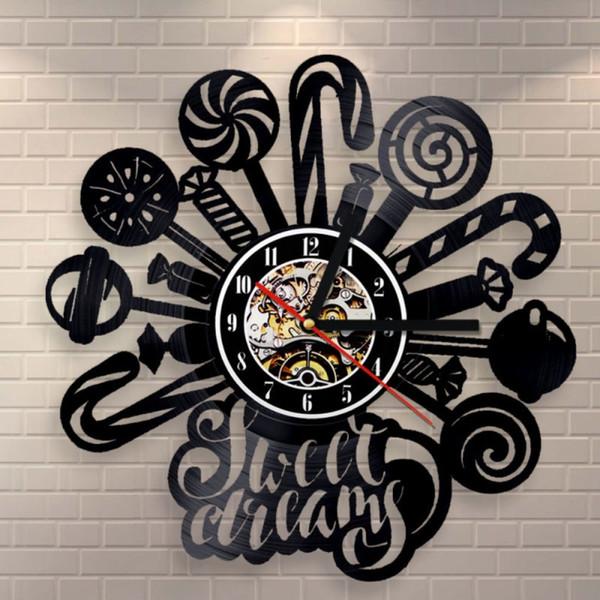 Saat  Record Wall Clock Modern Design Decorative Kids Room Lollipops Candy Hanging Clocks Watch Home Decor Silent 12 Inch