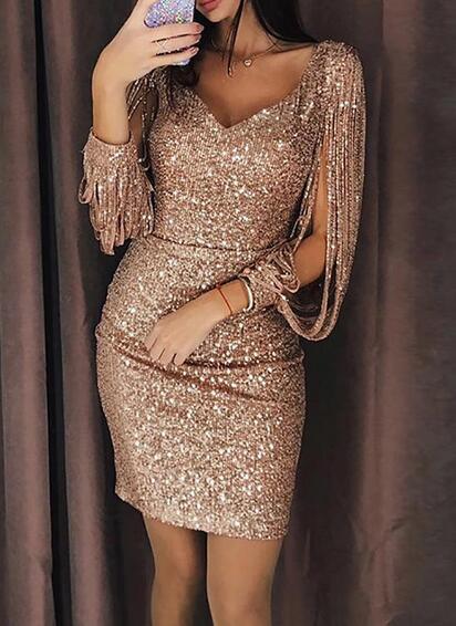 2019 vendita calda nuove donne sexy discoteca partito vestito paillettes nappa manica lunga borsa hip abito m1