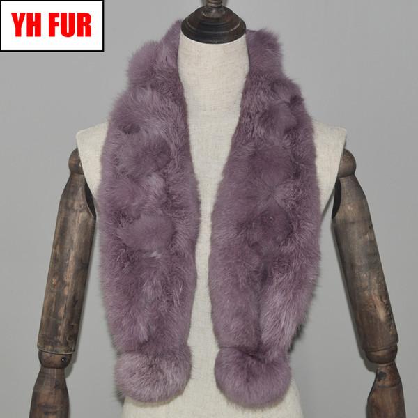 Réel hiver naturel 2019 fourrure écharpe femmes tricoté véritable anneau de fourrure de lapin foulards Lady chaud doux réel fourrure de lapin silencieux châles