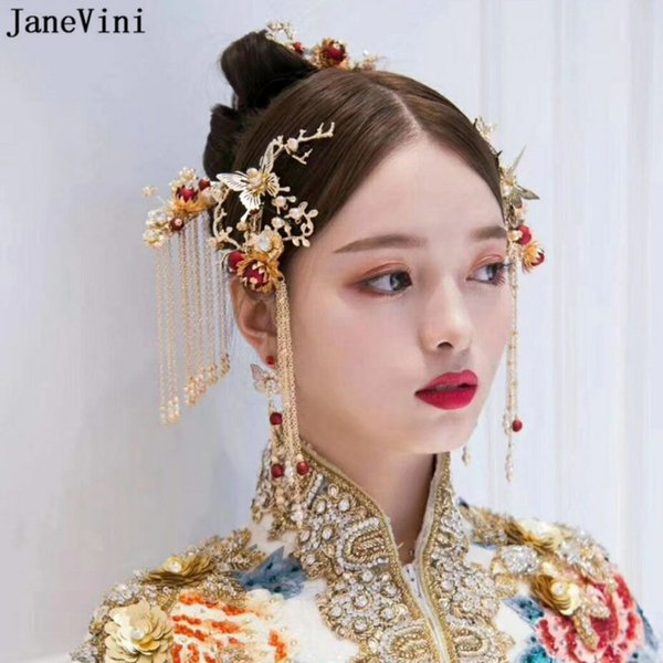 JaneVini Chinese Handmade Vintage Hair Clip Ancient Wedding Red Bridal Hairpins Gold Tassel Tiara Women Jewelry Hair Accessories