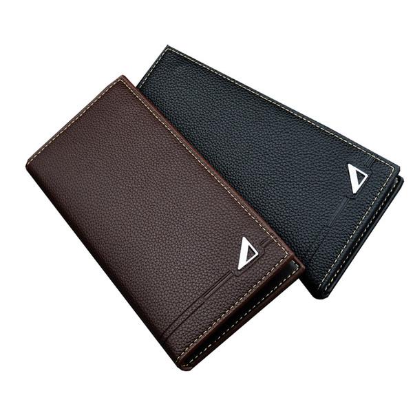 Hot Sale Men's Long Wallet Black Multi-card Card Holder Male Coin Purse Clutch Hand Bag with Zipper Brand Designer Pu Leather