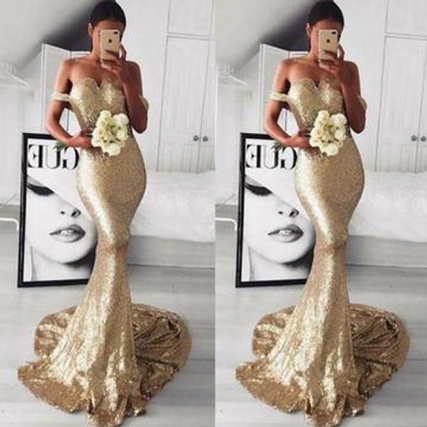 Sparkly Gold Sequined Vestidos de fiesta Vestidos de fiesta de noche Sirena 2019 Fuera del hombro Longitud del piso Fiesta de desfile barata Celebrity Dress