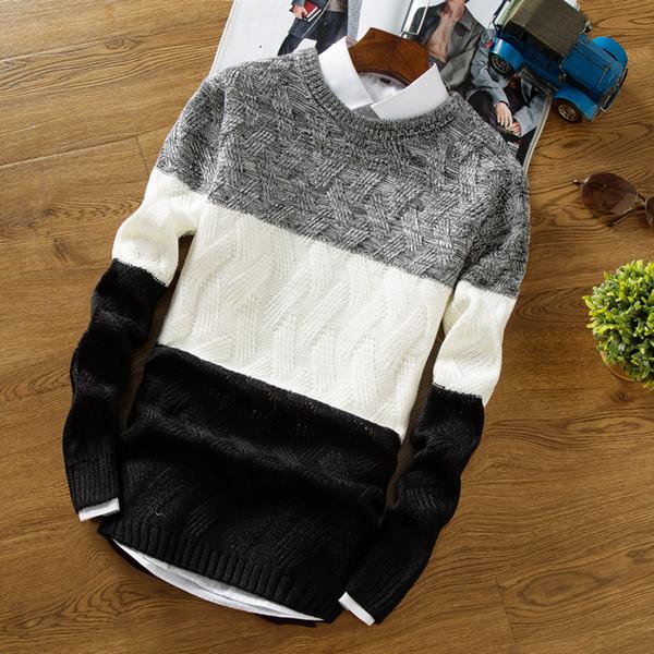 Suéter de alta calidad nuevo en suéter casual hombres otoño invierno O collar de gradiente de color de punto suéter de los hombres de la marca