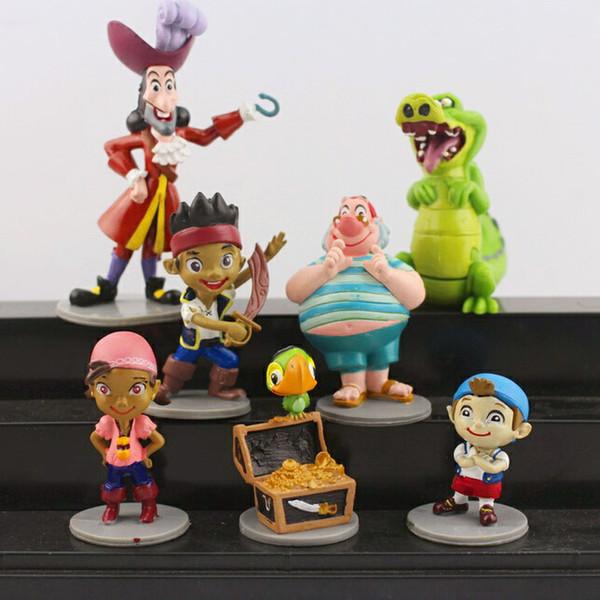 Action Figure oyuncaklar Yeni 7 adet / takım Anime Karikatür Jake ve Neverland Korsanlar PVC Action Figure Oyuncaklar Ücretsiz Kargo