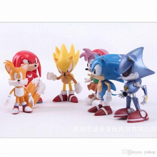 Wholesale 6Pcs/set Cute Anime Sonic The Hedgehog Action Figure Set Doll Toys Promotion Xmas Gift Collection Party Cake Topper Decoration