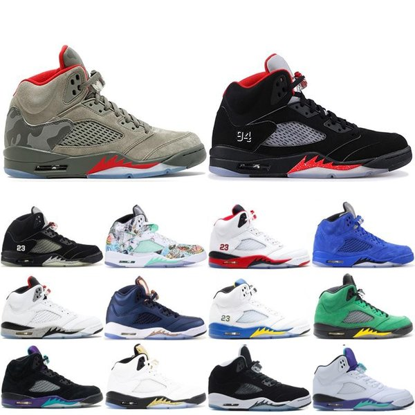 Mens Basketball Shoes 5 5s PSG X Paris Saint-Germain 75 Black White Red Blue Suede International Flight OG Black Metallic Sport Sneakers